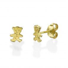 עגילי זהב צמודים -  דובי חמודי