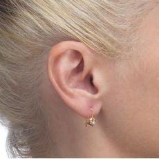 עגילים תלויים מזהב צהוב 14 קראט - עיגולים מרי (קטן)