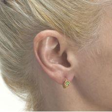 עגילים תלויים צמודים מזהב צהוב 14 קראט - עיגול תמרה