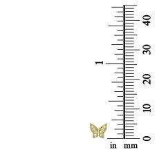 עגילים צמודים מזהב צהוב 14 קראט - פרפר אשטון