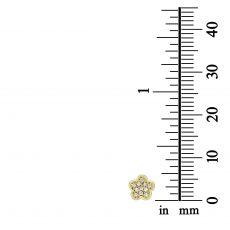 עגילים צמודים מזהב צהוב 14 קראט - פרח אלינור