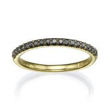 טבעת יהלום שחור מזהב צהוב 14 קראט - נסיכה