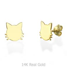 עגילים צמודים מזהב צהוב - חתול משופם