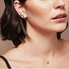 עגילים תלויים מזהב לבן 14 קראט - משולש הזהב
