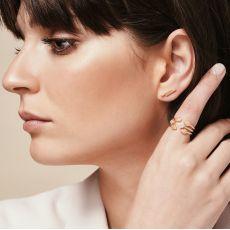 עגילים צמודים מזהב לבן 14 קראט - בדידי זהב