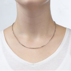 """שרשרת ספיגה זהב לבן 14 קראט, 1.5 מ""""מ עובי, 45 ס""""מ אורך"""