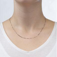 """שרשרת ונציה זהב לבן 14 קראט, 0.8 מ""""מ עובי, 45 ס""""מ אורך"""