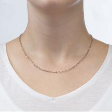 """שרשרת רולו זהב לבן 14 קראט, 2.2 מ""""מ עובי, 45 ס""""מ אורך"""