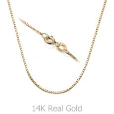 """שרשרת ונציה זהב צהוב 14 קראט, 0.8 מ""""מ עובי, 42 ס""""מ אורך"""