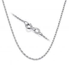 """שרשרת מסובבת זהב לבן 14 קראט, 1 מ""""מ עובי, 50 ס""""מ אורך"""