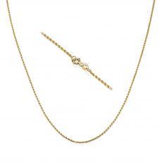 """שרשרת חבל זהב צהוב 14 קראט, 1.4 מ""""מ עובי, 45 ס""""מ אורך"""