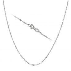 """שרשרת סינגפור זהב לבן 14 קראט, 1.2 מ""""מ עובי, 45 ס""""מ אורך"""