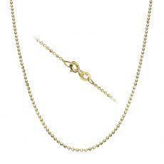 """שרשרת כדורים זהב צהוב 14 קראט, 1.4 מ""""מ עובי, 45 ס""""מ אורך"""