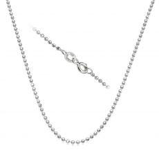 """שרשרת כדורים זהב לבן 14 קראט, 1.8 מ""""מ עובי, 55 ס""""מ אורך"""