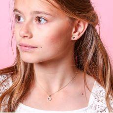 עגילי זהב צמודים -  כוכב בשני צבעים
