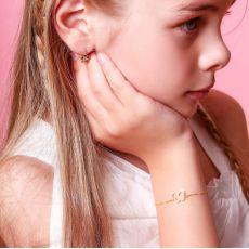 צמיד לילדה מזהב צהוב 14 קראט - פרפר זוהר