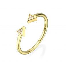 טבעת פתוחה מזהב צהוב 14 קראט - משולשים נוצצים