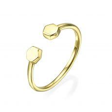 טבעת פתוחה מזהב צהוב 14 קראט - הקסגונים