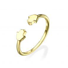 טבעת פתוחה מזהב צהוב 14 קראט - חמסות
