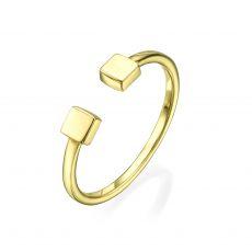 טבעת פתוחה מזהב צהוב 14 קראט - ריבועים