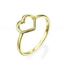 טבעת מזהב צהוב 14 קראט - לב