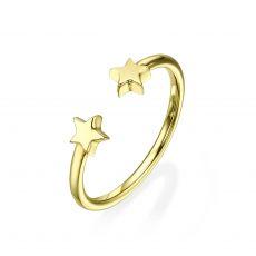 טבעת פתוחה מזהב צהוב 14 קראט - כוכבים