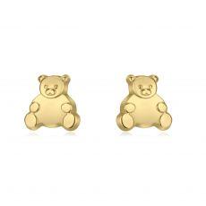 עגילים צמודים מזהב צהוב 14 קראט - דובי מאושר