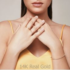 טבעת פתוחה מזהב לבן 14 קראט - ריבועים