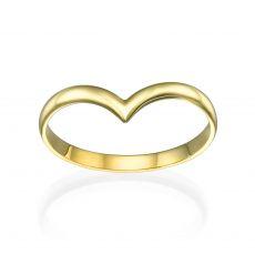 טבעת מזהב צהוב 14 קראט - וי עדין