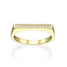 טבעת מזהב צהוב 14 קראט - פס זירקונים