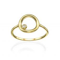 טבעת מזהב צהוב 14 קראט - עיגול וזירקון