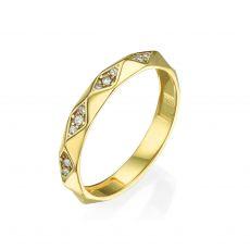 טבעת מזהב צהוב 14 קראט - פירמידות