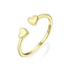 טבעת פתוחה מזהב צהוב 14 קראט - שני לבבות