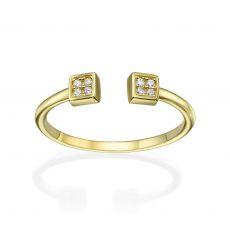 טבעת פתוחה מזהב צהוב 14 קראט - ריבועים משובצים