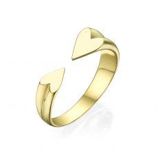 טבעת פתוחה מזהב צהוב 14 קראט - הלב שלי