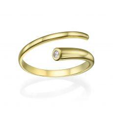 טבעת פתוחה מזהב צהוב 14 קראט - ספירלה