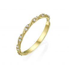 טבעת מזהב צהוב 14 קראט - טוויסט