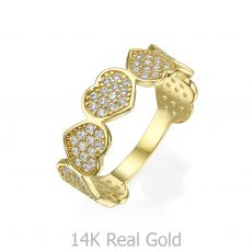 טבעת מזהב צהוב 14 קראט - לבבות אינפיניטי