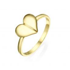 טבעת מזהב צהוב 14 קראט - לב עמוק