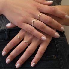 טבעת מזהב צהוב 14 קראט - מעוין נוצץ