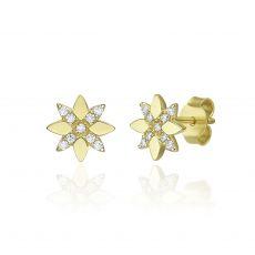 עגילים צמודים מזהב צהוב 14 קראט -  פרח מלכותי