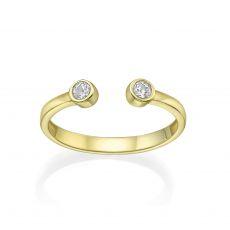 טבעת פתוחה מזהב צהוב  14 קראט -  עיגולי טל מנצנצים