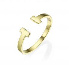טבעת פתוחה מזהב צהוב 14 קראט -  רובין