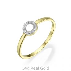 טבעת מזהב צהוב 14 קראט -  עיגול מנצנץ