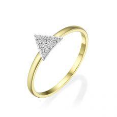 טבעת מזהב צהוב 14 קראט -  משולש טורונטו