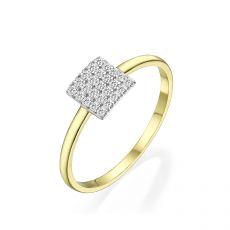 טבעת מזהב צהוב 14 קראט -  ריבוע פירנצה
