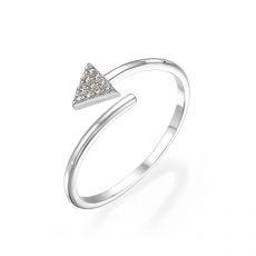 טבעת פתוחה מזהב לבן 14 קראט -   חץ מנצנץ