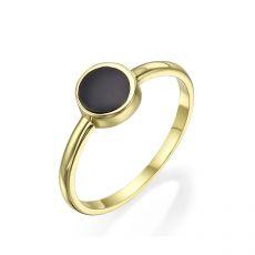 טבעת מזהב צהוב 14 קראט - נפטון