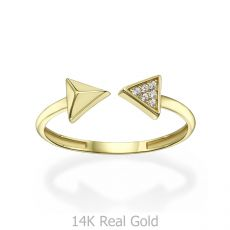 טבעת פתוחה מזהב צהוב 14 קראט - חצים
