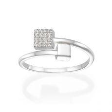 טבעת פתוחה מזהב לבן 14 קראט - קוביות מנצנצות